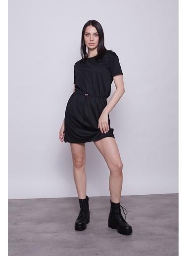 Jument Kadın Düşük Omuz Kısa Kol Yandan Cepli Beli Lastikli Spor Elbise-Siyah Siyah